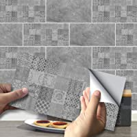 funlife Dark Grey Cement Film Vinyl Self-Adhesive Wallpaper Removable Tile Decals Waterproof Backsplash Peel and Stick…