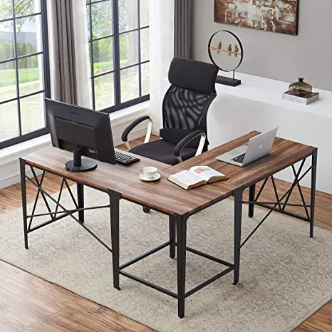 O&K Furniture Large Corner Desk, Industrial L-Shaped Computer Desk for Home  Office, Vintage Brown