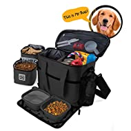 Dog Travel Bag - Week Away Tote for Med and Large Dogs - Includes Bag, 2 Lined Food Carriers, Placemat, and 2 Collapsible Bowls