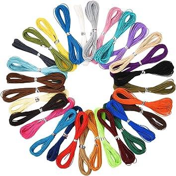 Demine Wax Cordón de Cuerda de poliéster de 30 Colores, 3 hebras ...