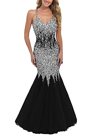 Fanciest Womens Beaded Backless Mermaid Prom Dresses 2018 Long Evening Gowns Black US2