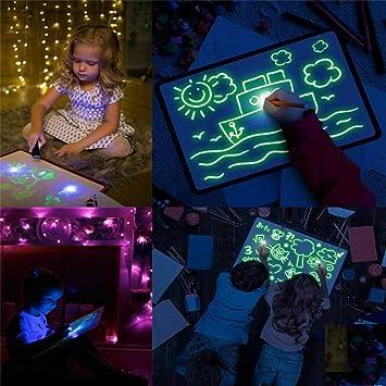 Kinder 3D Magic Zeichnen Sketchpad Leuchtende Zeichenbrett mit Leuchtstift Set