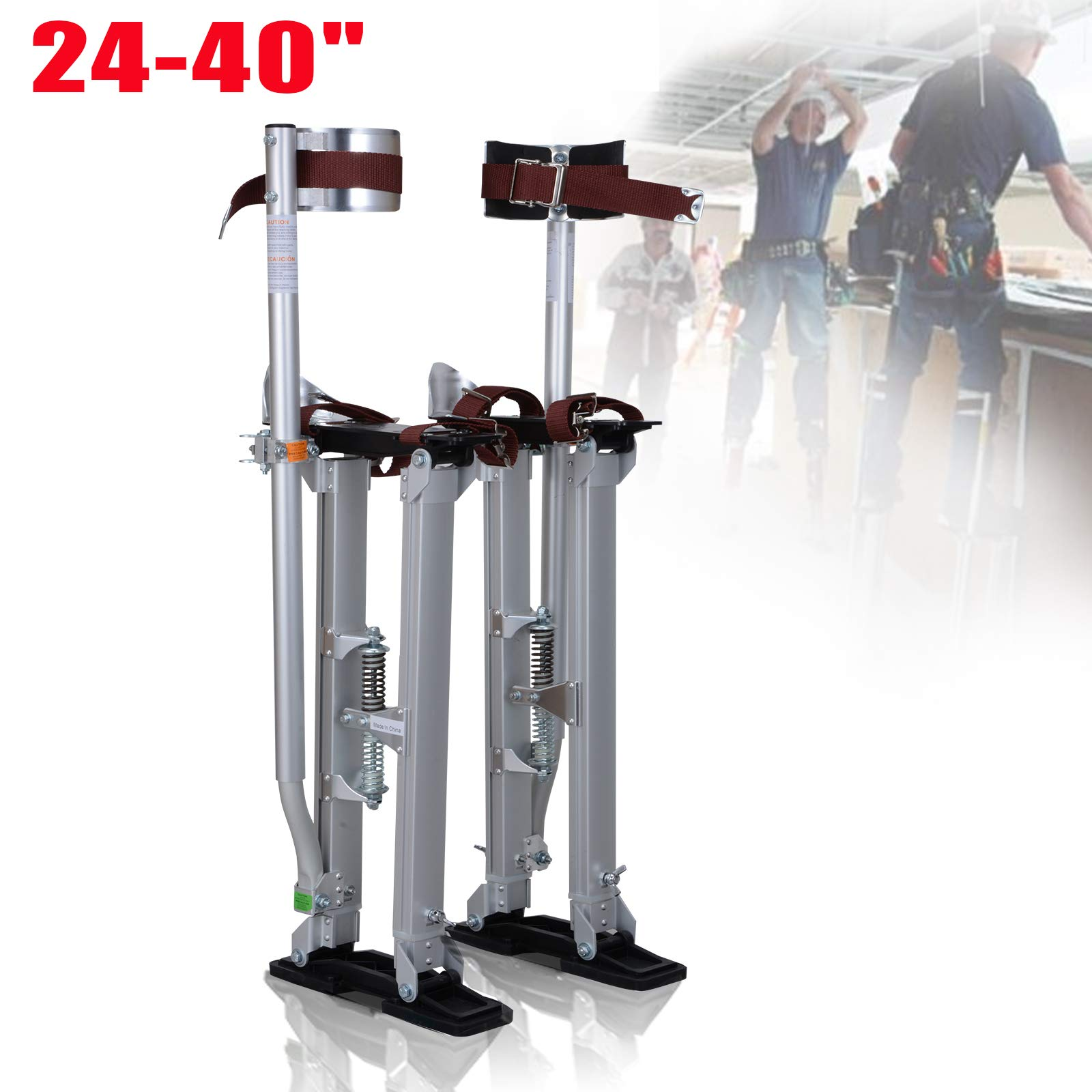 Voilamart Drywall Stilts 24''-40'' Adjustable Aluminum Painting Stilts Lifts Tool for Painter Taping Cleaning Ceiling Finishing - Silver by Voilamart