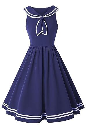 Misshow Marine Kleid Damen Sommerkleid Schule Pin up Partykleid ...