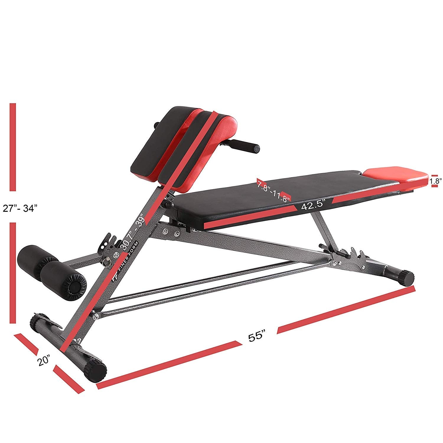 Finer Form Upgraded Multi-Functional Bench for Full All-in-One Body Workout – Hyper Back Extension, Roman Chair, Adjustable Ab Sit up Bench, Decline Bench, Flat Bench