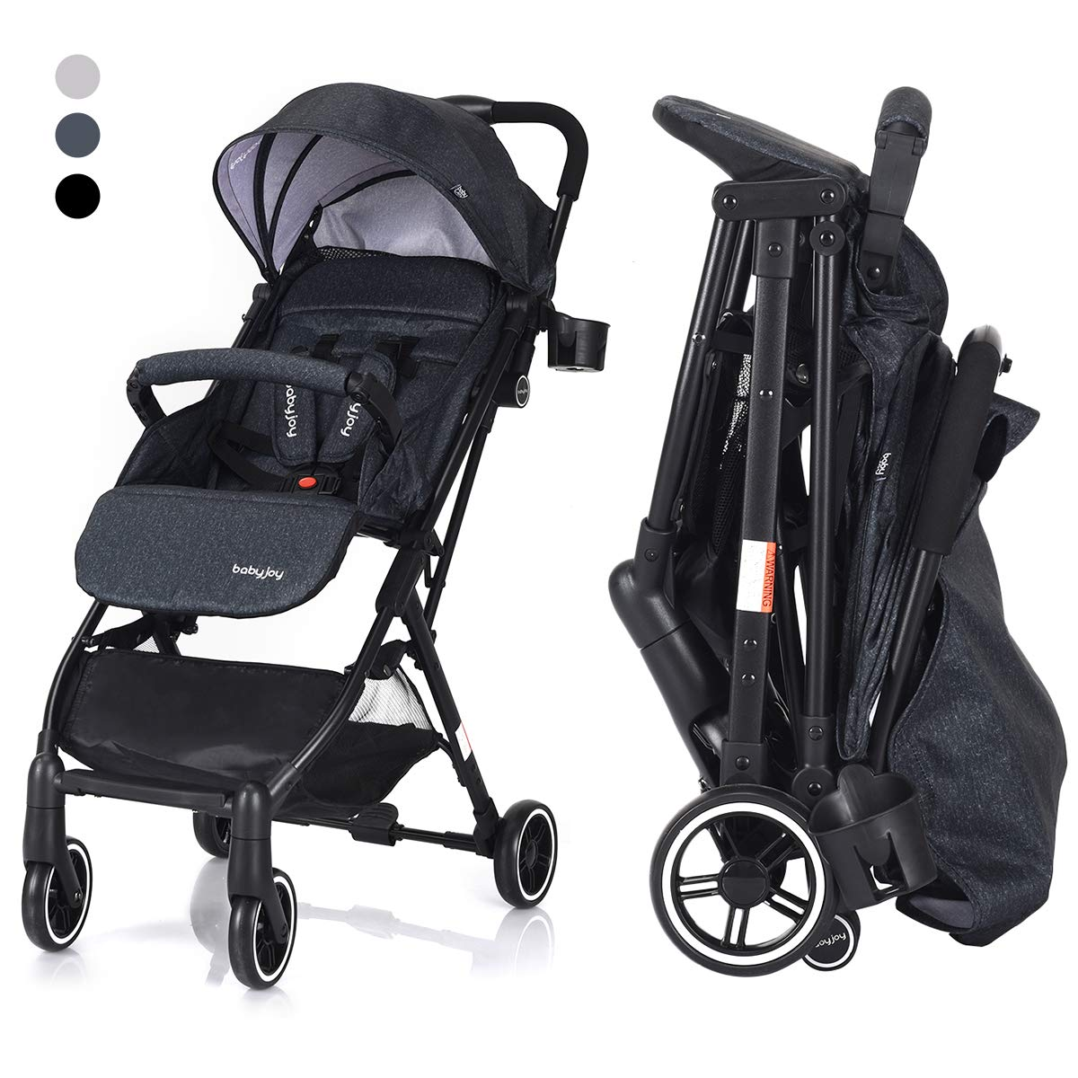 COSTWAY Kid Pram | Folding Baby Stroller | Travel System with Five-Point Harness, Adjustable Backrest & Footrest, Rain Cover, Shock Proof Wheels, 360 Degree Swivel (Grey)