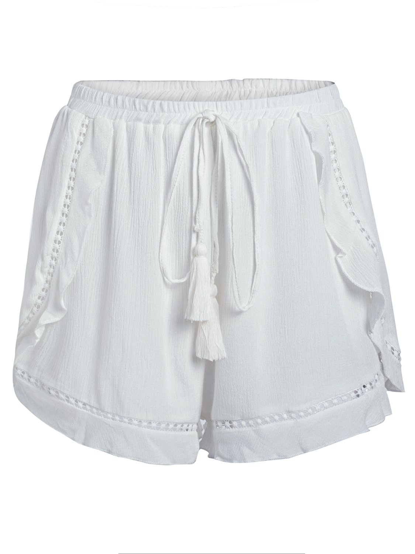 Simplee Women's Summer Casual High Waist Shorts Ruffles Mini Shorts White US 4-6