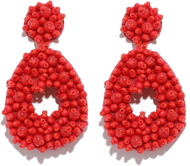 Pendientes de gota para mujer, redondos, rojos, vintage, grandes, joyería de moda 2019