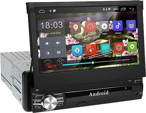 Android 9.0 Radio Coche 1 DIN de Navegación GPS,Autoradio con Bluetooth Manos Libres 7Pantalla Auto retráctil táctil 1080P con CD DVD/USB/FM Am/SD/MP5-Apoyo Control Volante y Aparcamiento: Amazon.es: Electrónica