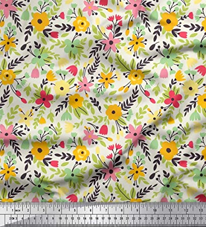 """Yellow Floral Print 41"""" Wide Quilting Cotton Fabric For Sewing By The Metre"""