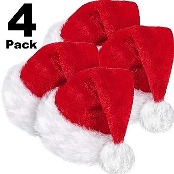 SATINIOR 4 Paquetes Gorro de Papá Noel, Gorro Navideño de Terciopelo Unisex con Forro Cómodo y Gorro de Felpa Rojo con Sombrero de Papá Noel para Adultos Fiesta Año Nuevo Navidad: Amazon.es: