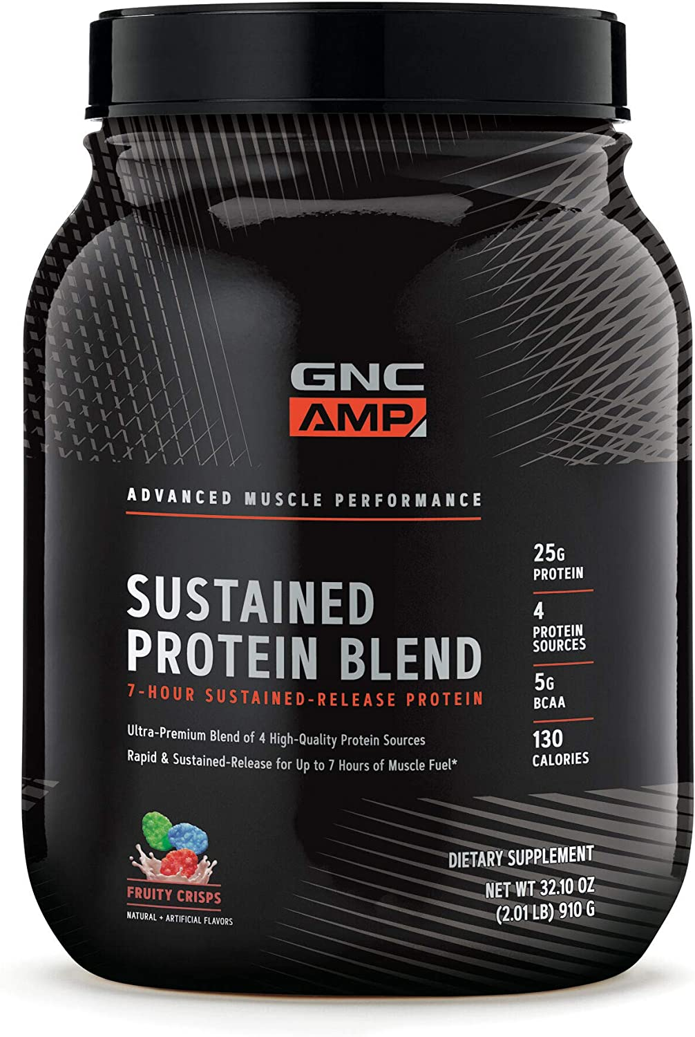 GNC AMP Sustained Protein Blend – Fruity Crisps, 2.04 lbs, High-Quality Protein Powder for Muscle Fuel