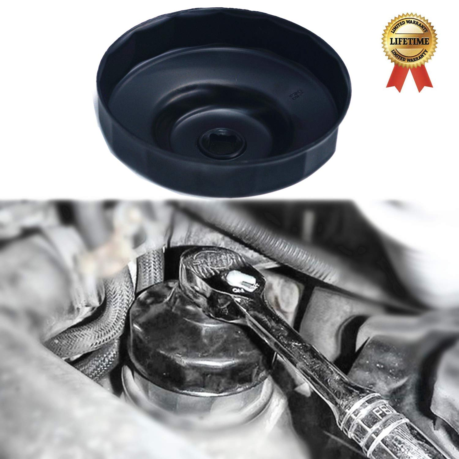 Ease2U 86mm Oil Filter Wrench for BMW,with 86.4mm 16 Flutes fits N54 N55 N52 BMW Engines
