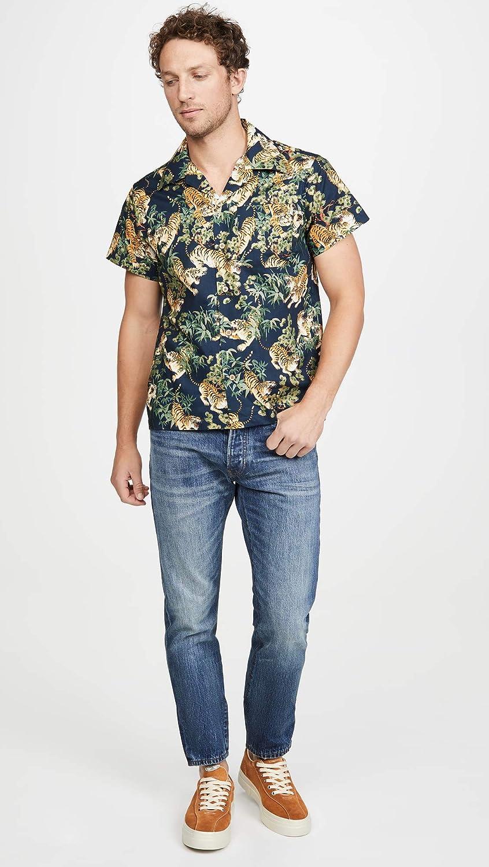 Naked /& Famous Mens Aloha Shirt Big Tropical