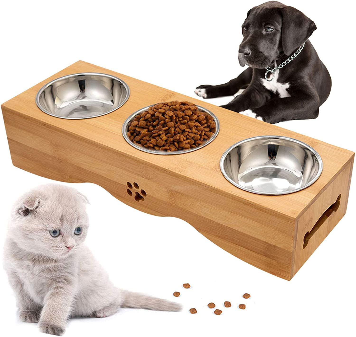 Raised Pet Bowls Elevated Pet Feeder Bowl Dog Cat Feeder Bowls Bamboo Cat Bowl Stand Holder with Stand and 3 Stainless Bowls for Small Dog Cat