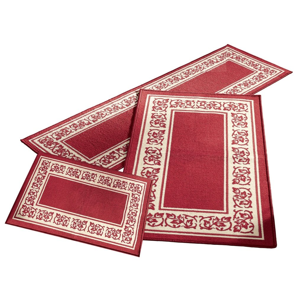 Collections Etc Floral Border 3pc Accent Rug Set, Burgundy