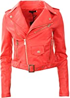 GG New Womens Faux Leather Biker Zip Crop Ladies Jacket Coat
