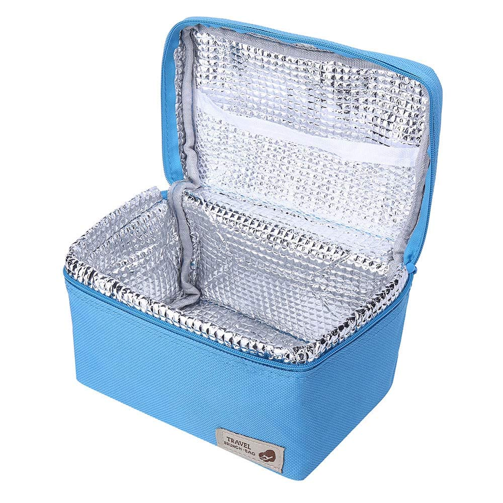 ♚Rendodon♚ Storage Bag, Household Storage, Foldable Lunch Box Bag, Lunch Picnic Storage Bag, Outdoor Portable Insulated Thermal Cooler Bento Lunch Box Picnic Storage Bag (Blue) by ♚Rendodon♚ (Image #2)