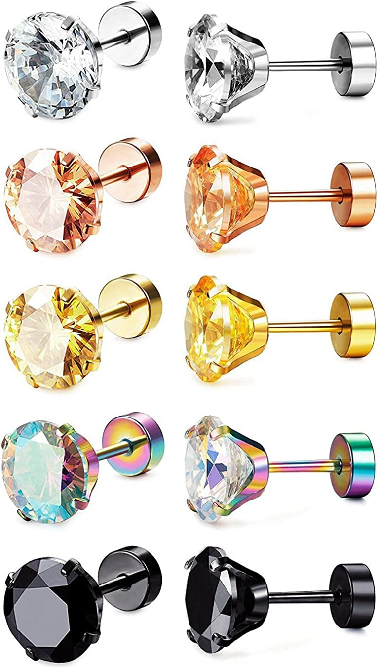 Sailimue 5 Pairs Stainless Steel Stud Earrings for Women Girls Earrings Barbell Cartilage Tragus Helix Piercing 18G 8MM