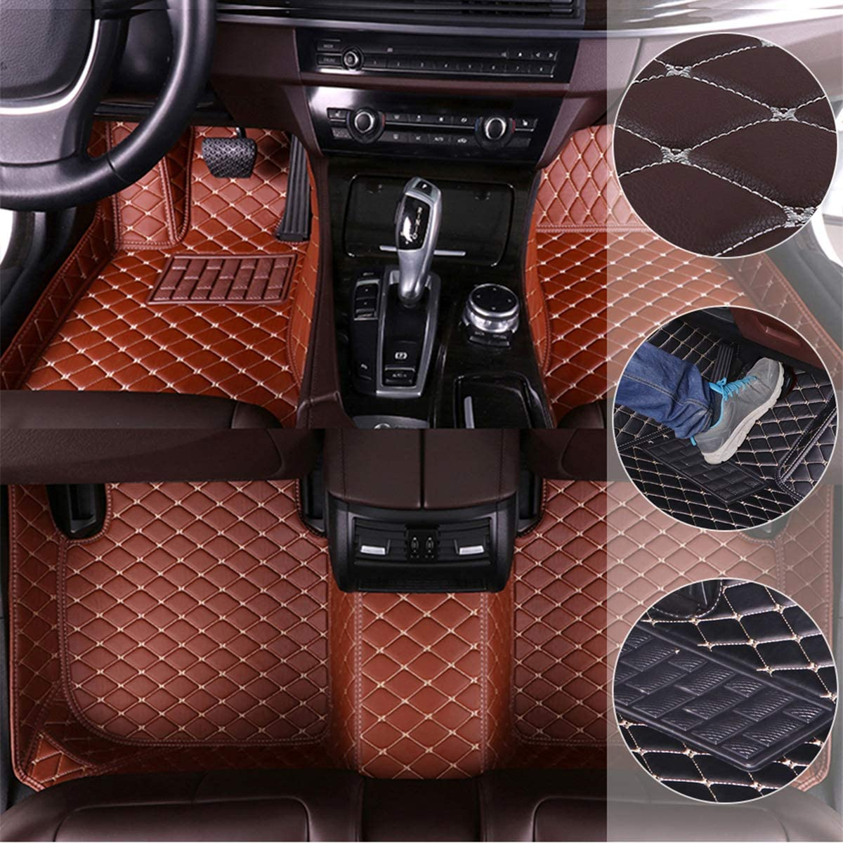 Car Floor Mats for Mitsubishi Outlander 2013-2016 5seat Custom Leather mat Full Surrounded Cargo Liner All Weather Protection Waterpoof Non-Slip Set Left Drive Black and Red