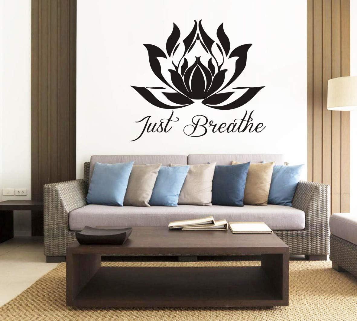 Amazon Com Home Decoration Lotus Flower Wall Sticker Yoga Studio Namaste Om Mandala Meditation Wall Decor Home Living Room Bedroom Wall Art Sticker Yoga Room Decor Mural Syy797 Black Arts Crafts Sewing