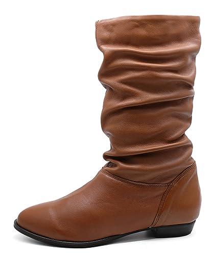 d235d5b51 HeelzSoHigh Mujer Piel Auténtica Marrón Sin Cordones Pixie Amplio fruncido  Alto Rodilla Botas Media Caña Zapatos