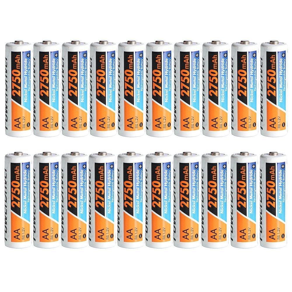 PowerDriver 20 Packs 2750mAh Aa Ni-MH NiMH Pre-charged Rechargeable Batteries for Clock