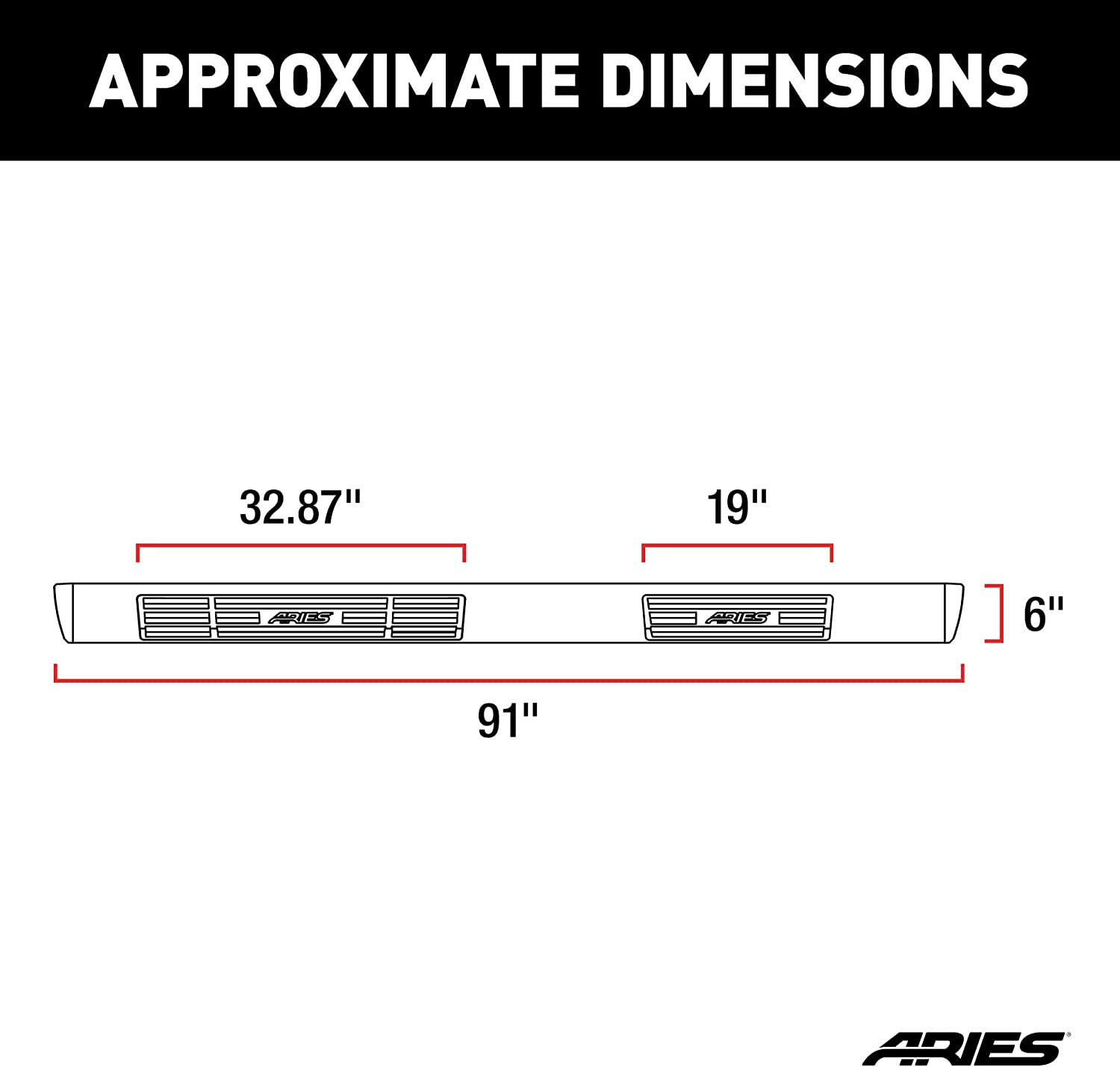 ARIES 4445003 91-Inch Oval Black Aluminum Nerf Bars Select Chevrolet and GMC Trucks