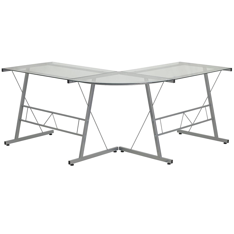 Flash Furniture Glass L-Shape Computer Desk with Silver Metal Frame