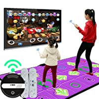 ROCK1ON LED Double Dance Mat Wireless Play Mat Arcade Style Dance Games with Built in Music Tracks and Wireless Technology Yoga Game for Adults Children