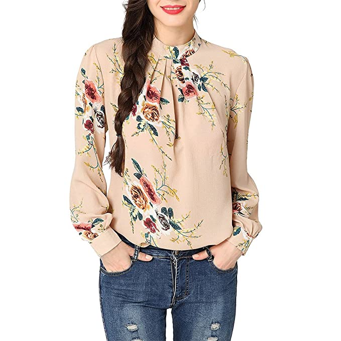 32f697717 iShine Womens Blouses Casual Slim Long Sleeve Chiffon Tops Ladies Round Neck  Floral Flower Printed T