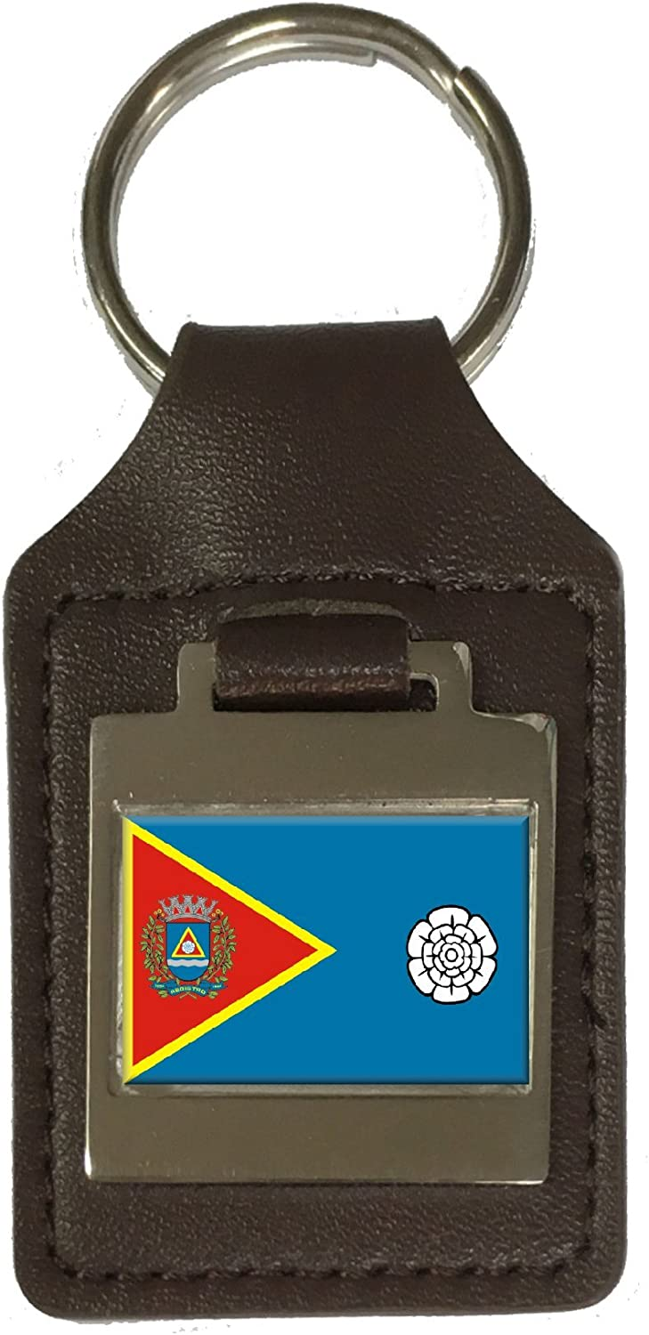 Leather Keyring Engraved Registro City Sao Paulo State Flag