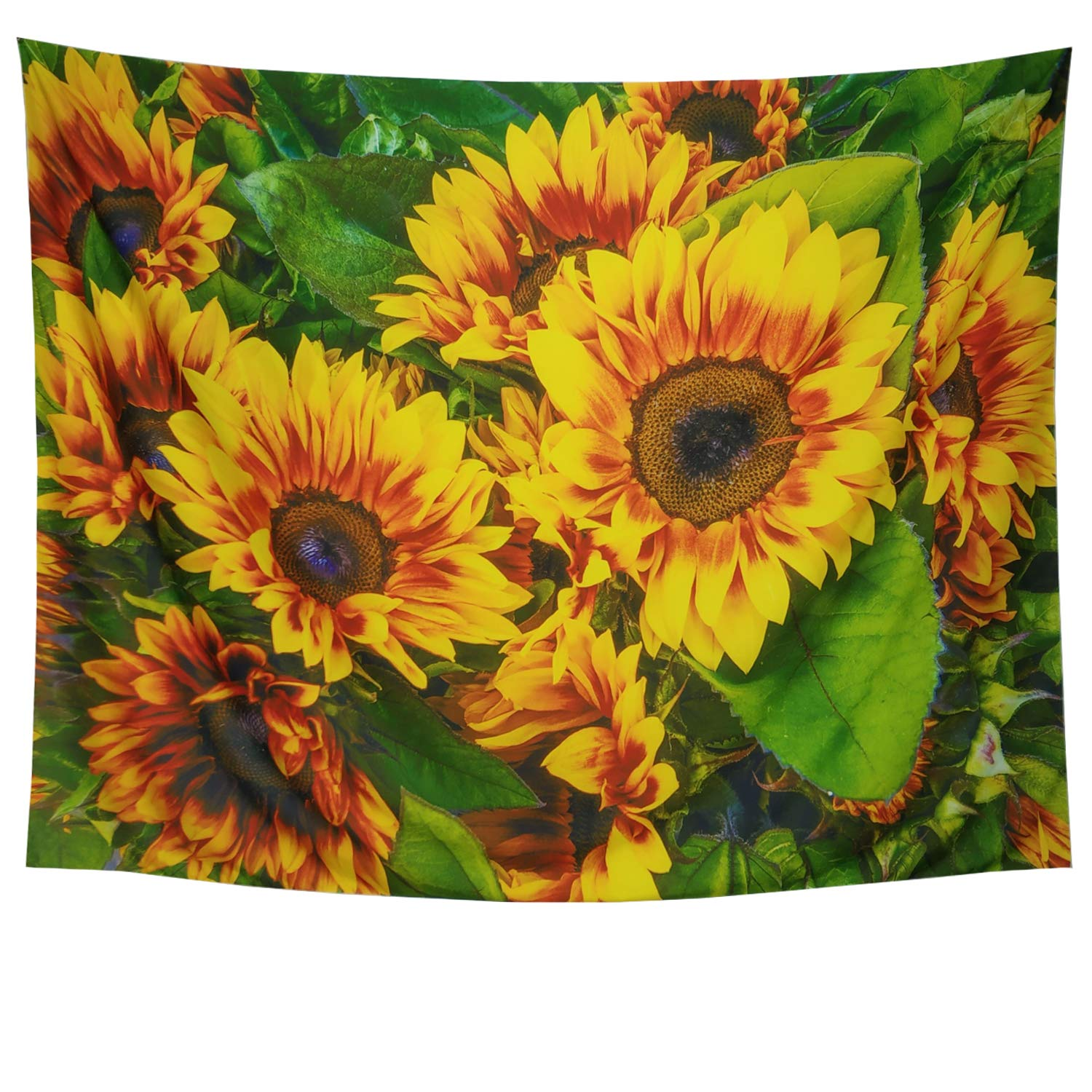 Sunflower Tapestry Green Leaves Wall Tapestry Sunflower Leaf Wall Hanging Boho Landscape Tapestry Plant Printed Tapestry Flower Floral Tapestry for College Student Dorm Decor