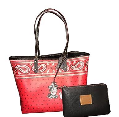 a74b53d7 Coach F59376 Disney Mickey Mouse Reversible Prairie Bandana Print QB/Bright  Red Black City Tote Handbag With Wristlet