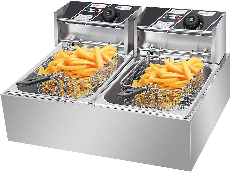 LJXiioo Deep Fryer 5000W 12L Dual Tanks Electric Deep Fryer Professional Tabletop Restaurant Kitchen Frying Machine with 2 Basket