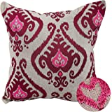 Deconovo Linen Embroidered Vintage Floral Cushion Cover Throw Pillow Case for Car Red and Beige 18 by 18 Inches