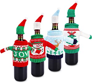 Konsait Ugly Sweater Christmas Party Kit, Knitted Christmas Wine Bottle Cover&Toppers for Beer Water Bottles Ornament for Xmas Christmas Party Favors Supplies Table Decoration Decor (4pack)