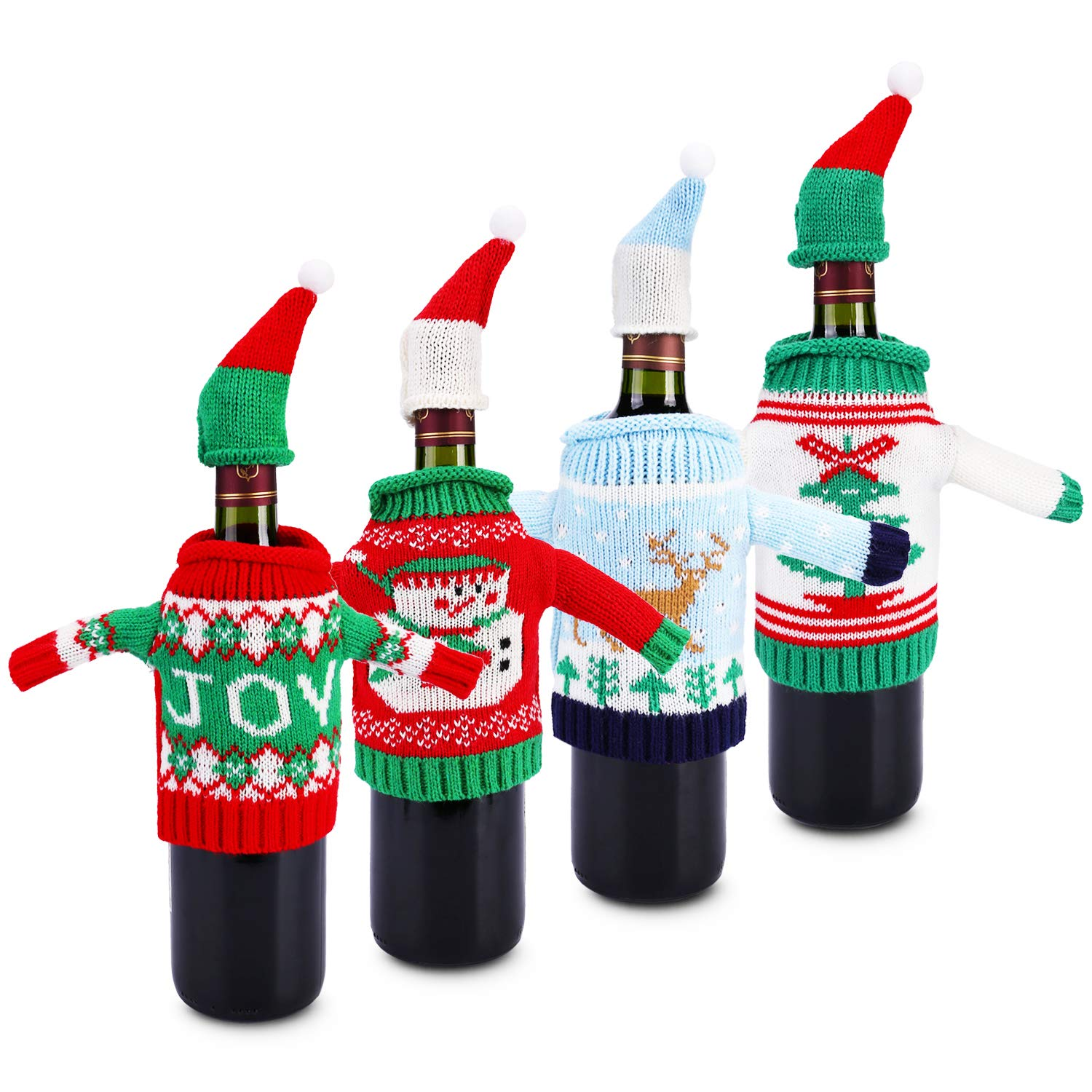Ugly Sweater Christmas Party Kit,Konsait Knitted Christmas Wine Bottle Cover&Toppers for Beer Water Bottles Ornament for Xmas Christmas Party Favors Supplies Table Decoration Decor Holiday Gift(4pack)