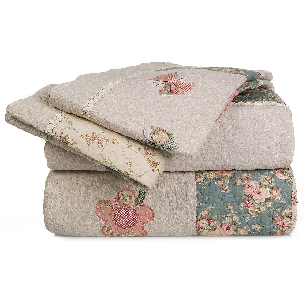 MAXYOYO New!Embroidered Patch Butterfly and Floral American Country Style Design Irregular Shape Quilt Set,Teen Girl's Quilt Throw,Beautiful Bedspreads,Lightweight Cotton Quilt 3Pcs Full/Queen Size