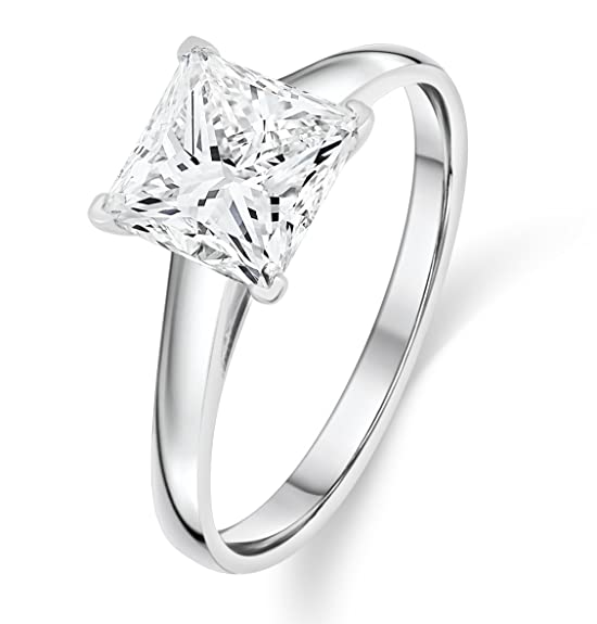 Review Buy Jewels 14k Gold Solitaire Princess Cut AAA+ Quality Swarovski Cubic Zirconia Engagement Ring