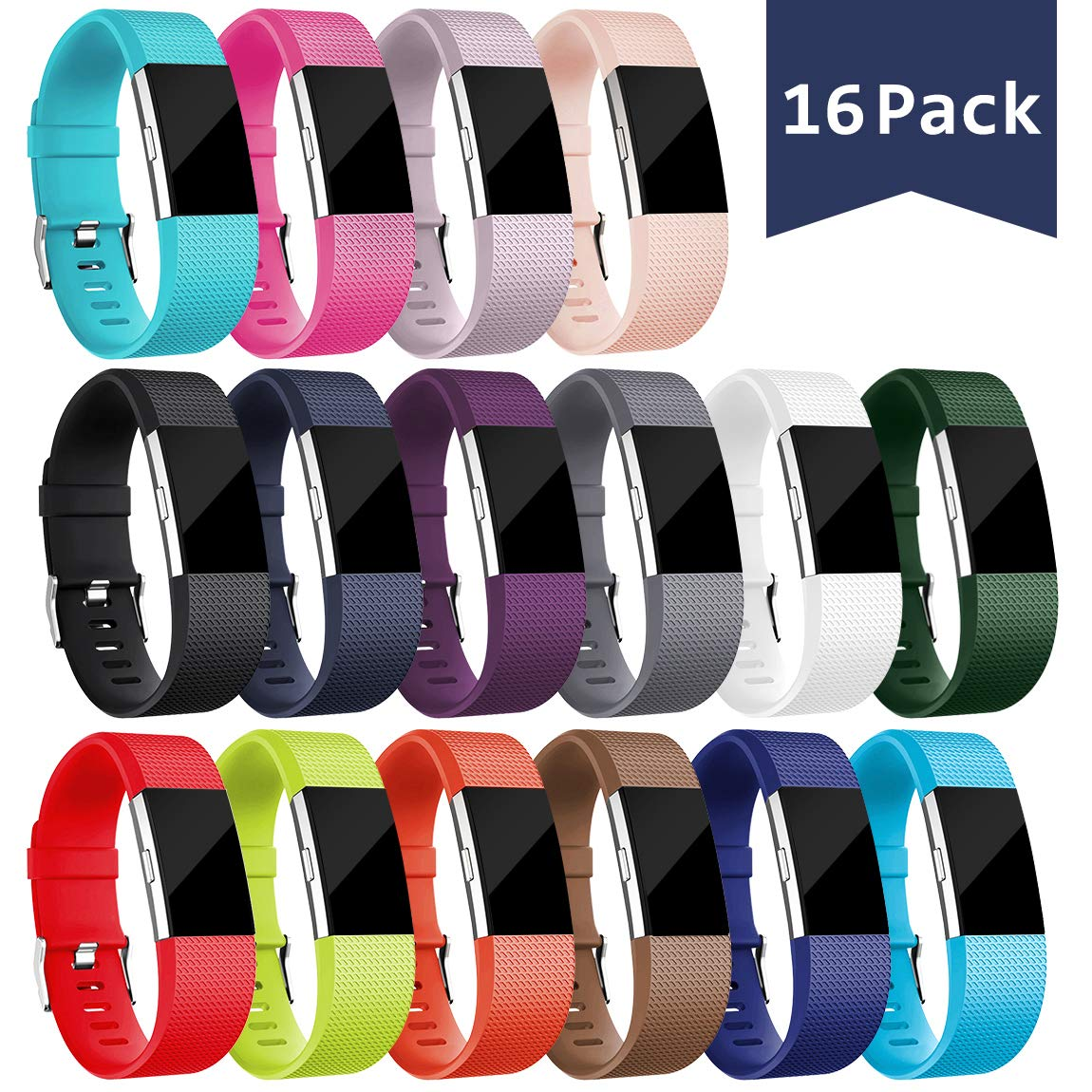 Maledan Replacement Bands Compatible with Fitbit Charge 2 for Women Men 16 Pack