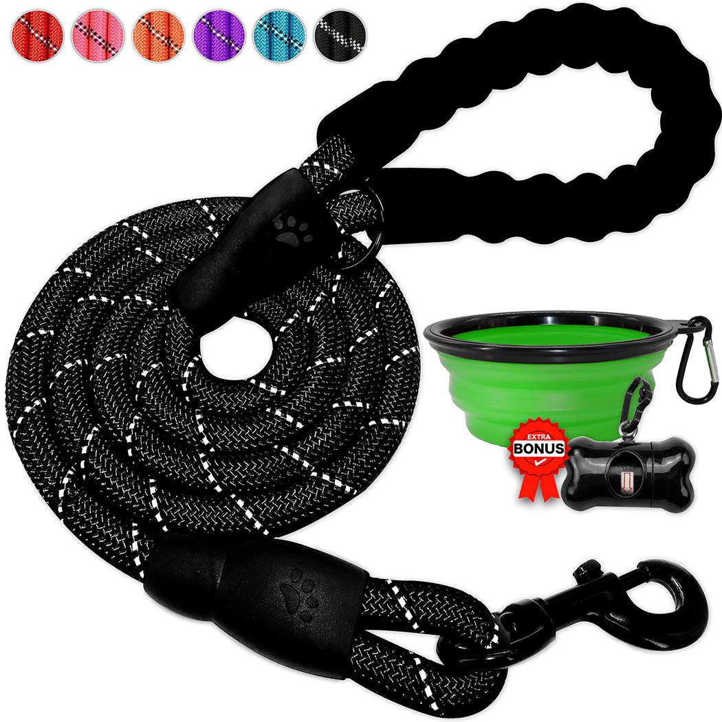 BARKBAY Dog leashes for Large Dogs Rope Leash Heavy Duty Dog Leash with Comfortable Padded Handle and Highly Reflective Threads 5 FT for Small Medium Large Dogs