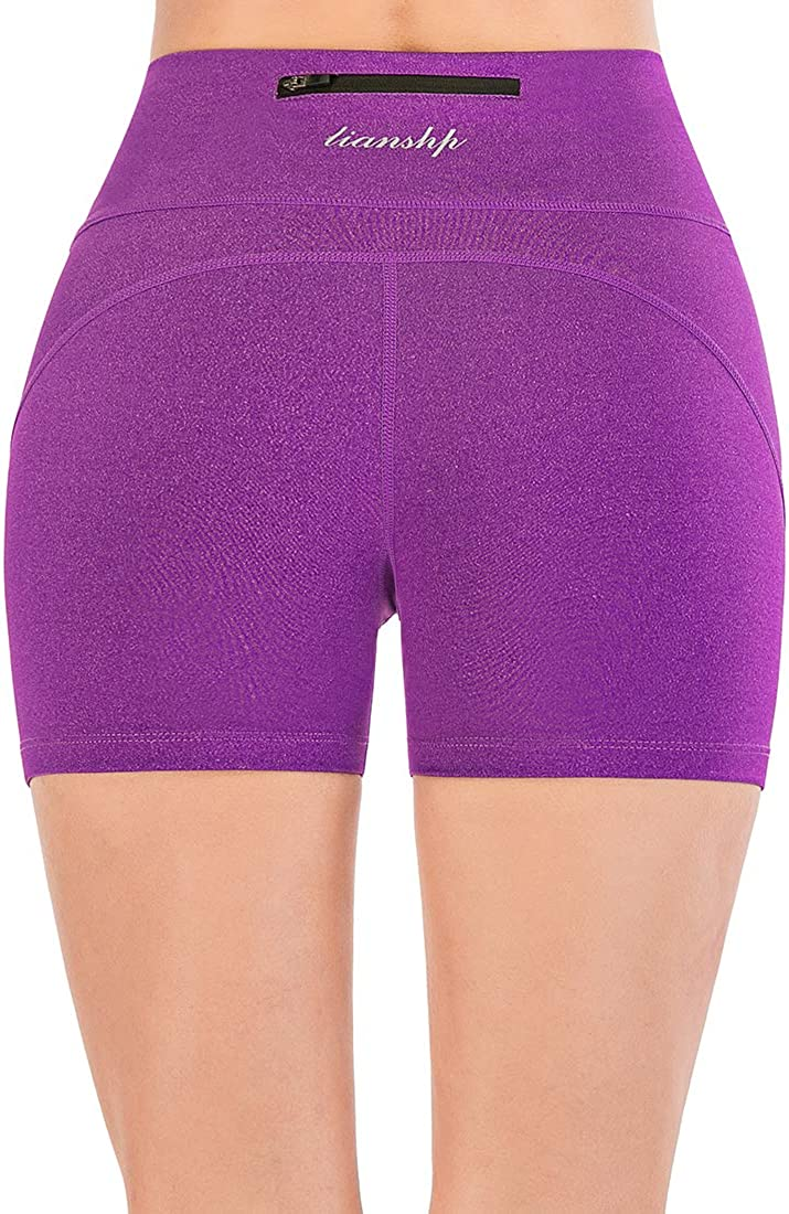 Lianshp Womens Running Shorts High Waist Tummy Control Athletic Workout Yoga Shorts with Zipper Pocket 3