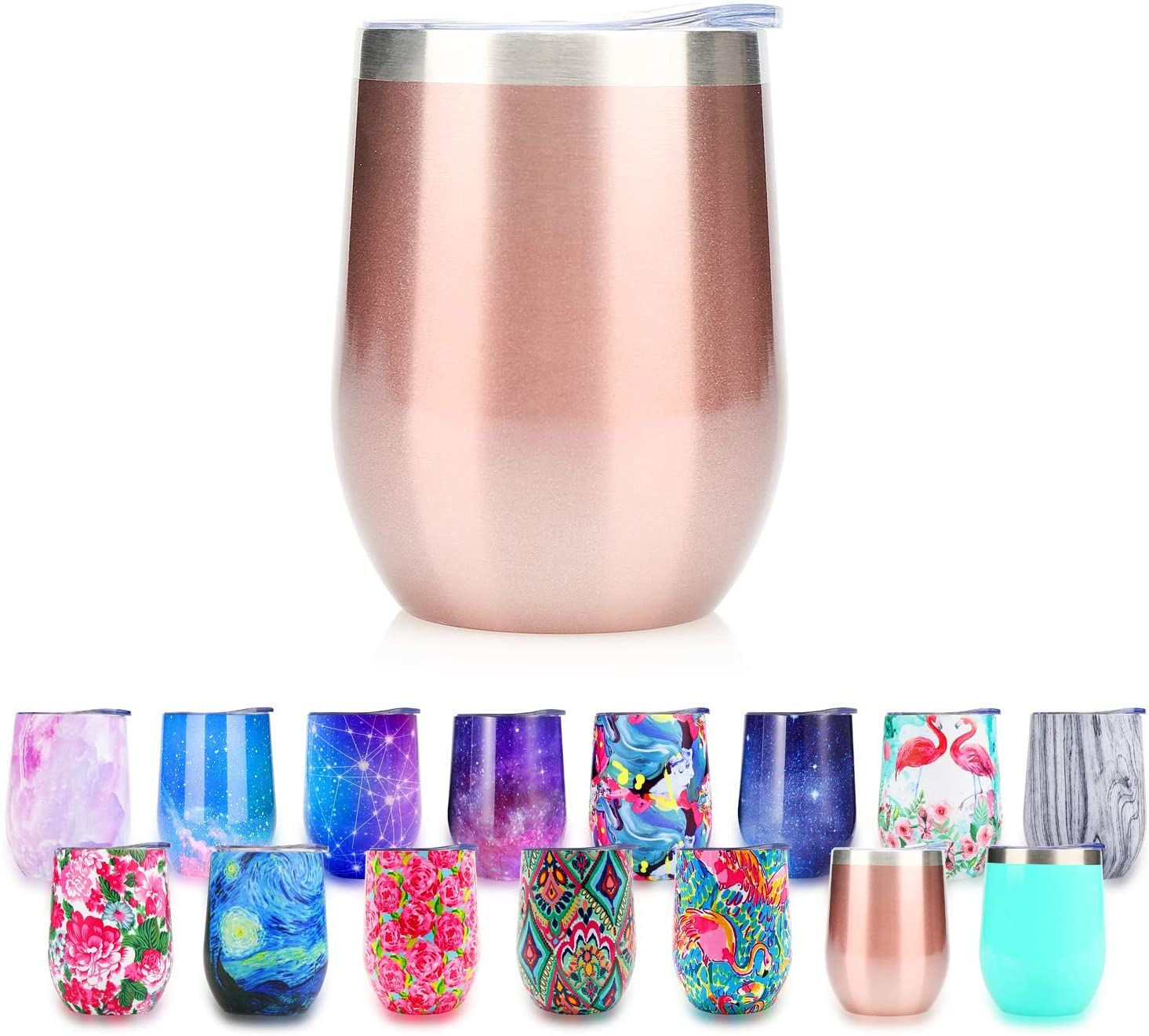 Stainless Steel Stemless Wine Glass Tumbler with Lid, 12 oz | Double Wall Vacuum Insulation Travel Tumbler Cup for Wine Coffee Drinks Champagne Cocktails Ice Cream | Sweat Free (015)