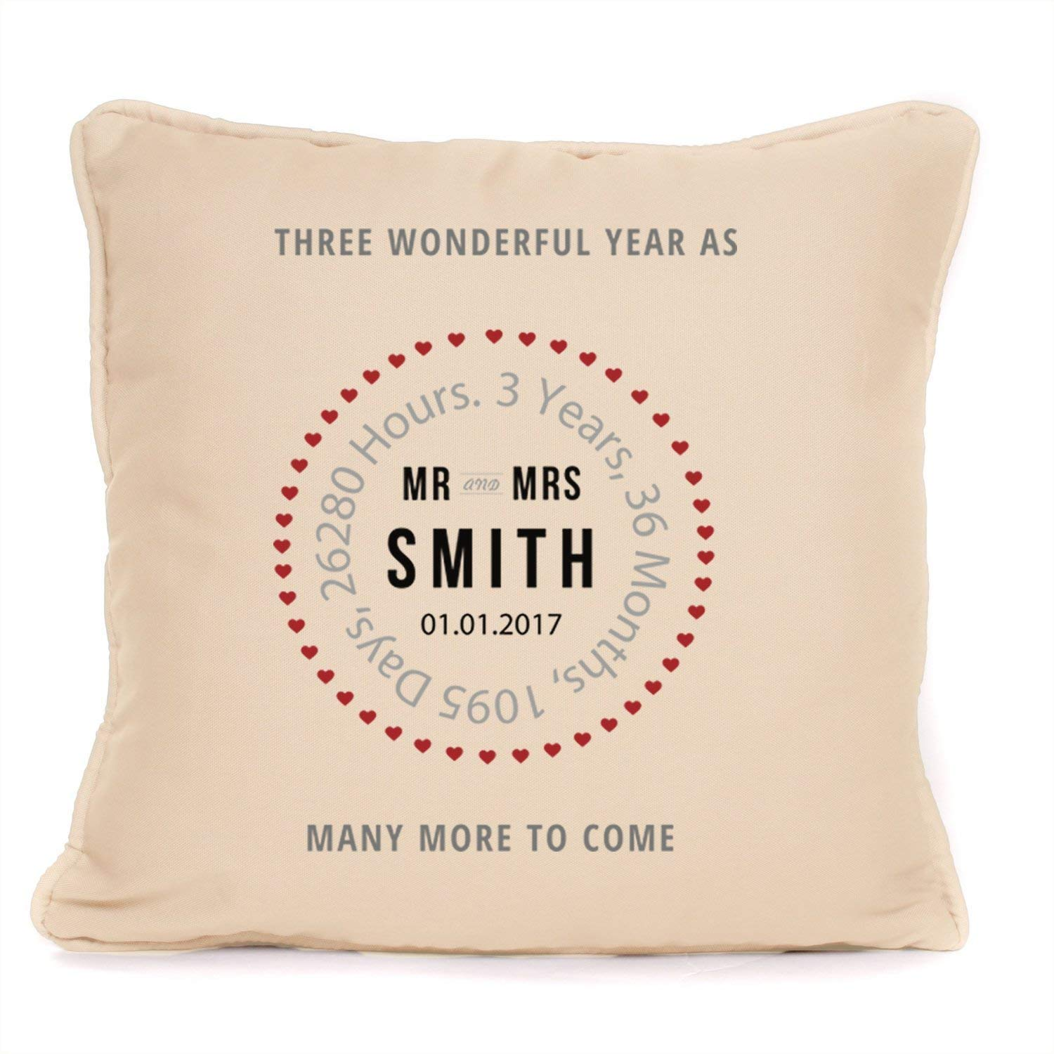 Amazon Com Personalized Third Wedding Anniversary Gift Stamp Design Throw Pillowcase 18x18 Inch The Perfect Present For A 3rd Anniversary Handmade