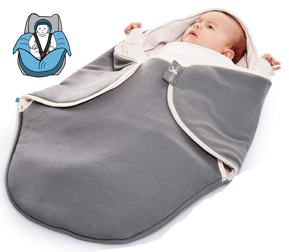 Wallaboo baby blanket coco for car seat and travel 100 pure cotton newborn upto 10 months 90 x 70 cm color grey amazon co uk baby