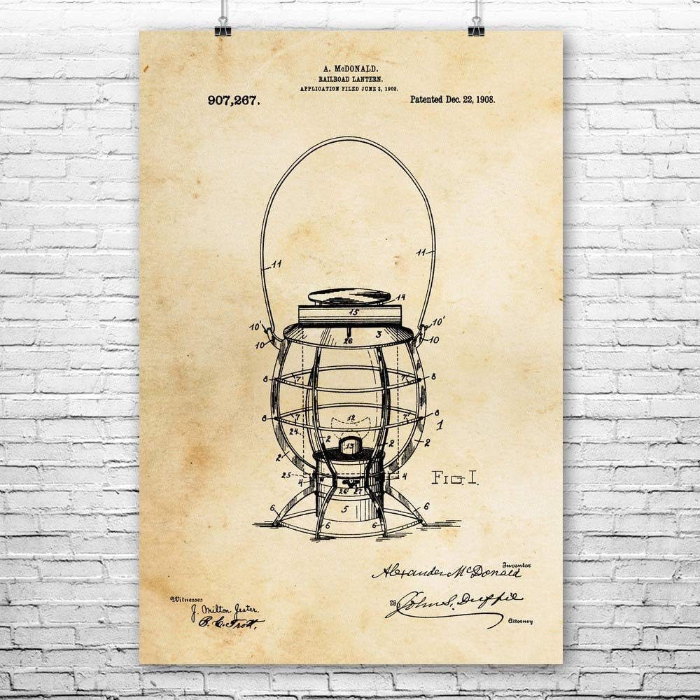 Patent Earth Railroad Lantern Poster Print, Engineer Gift, Vintage Railroad, Rail Worker, Train Conductor, Steam Locomotive