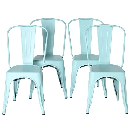 Beau PoliVaz Steel Metal Tolix Style Cafe Chair (Set Of 4), Matte Blue