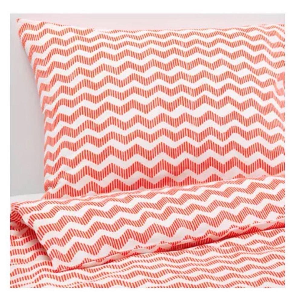 IKEA SOMMAR 2016ツイン羽毛布団カバーと一致する枕カバー、オレンジ B01GWRXXX0