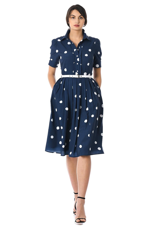 1950s Dresses, 50s Dresses | Swing, Wiggle, Pin Up Dresses eShakti Womens Polka Dot Print Crepe Belted shirtdress $64.95 AT vintagedancer.com